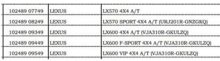 Lxus LX 600